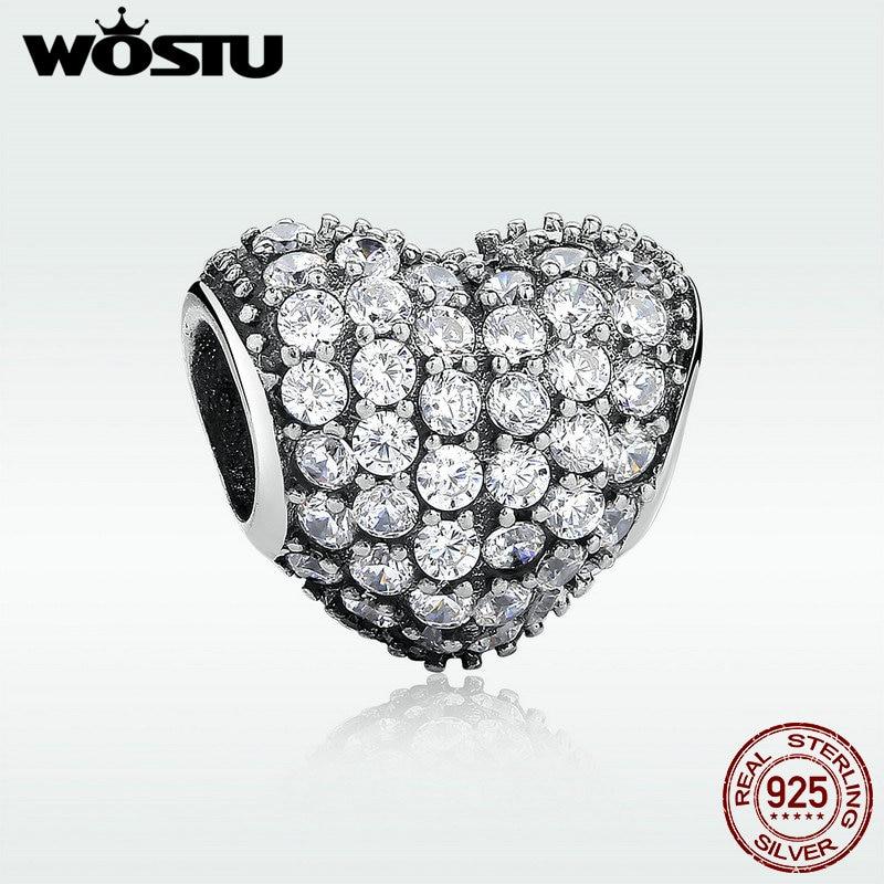 Высокое качество стерлингового серебра 925 вымощают в форме сердца шарм бусины с камнями Fit оригинальный браслет Pandora ожерелье подлинное равно ювелирных изделий