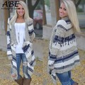 New Women Long Sleeve Cardigan Geometric Asymmetric Hem Front Open Knitting Outwear