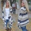 New Women Long Sleeve Cardigan Geometric Asymmetric Hem Front Open Knitting Outwear