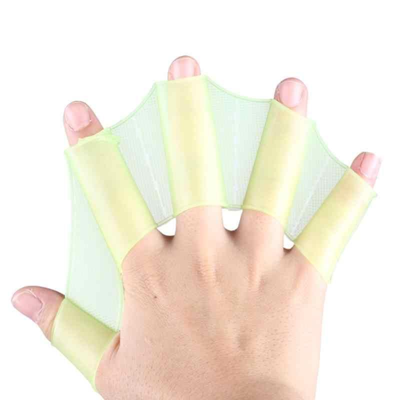 1 par de aletas de silicona para natación, aletas de mano para entrenamiento, guantes de buceo, guantes de Webbed para mujeres, hombres, niños, herramienta de natación
