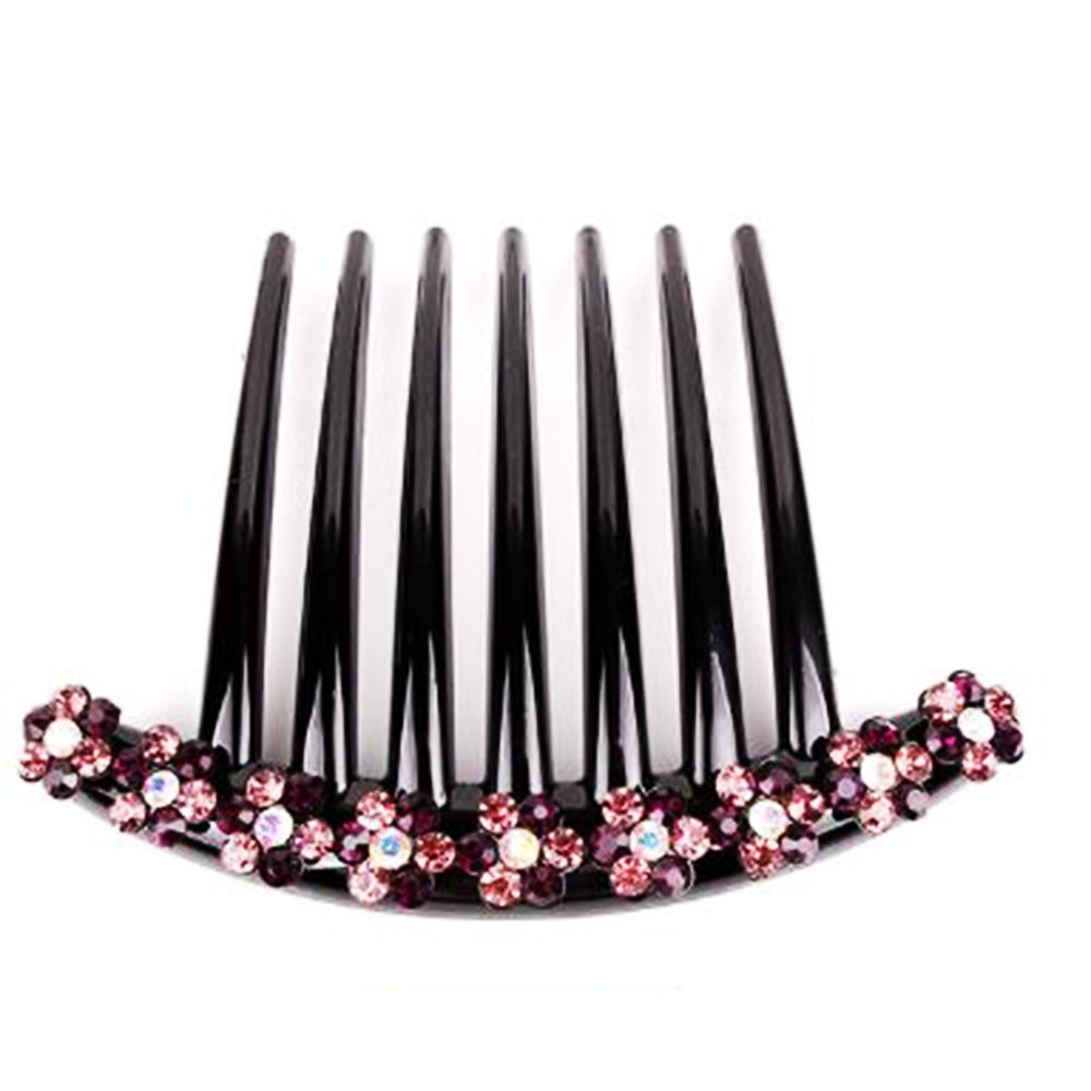 20 pcs Hair Comb Women Plastic Decorative With 14 Teeth Rhinestone Hair Side.