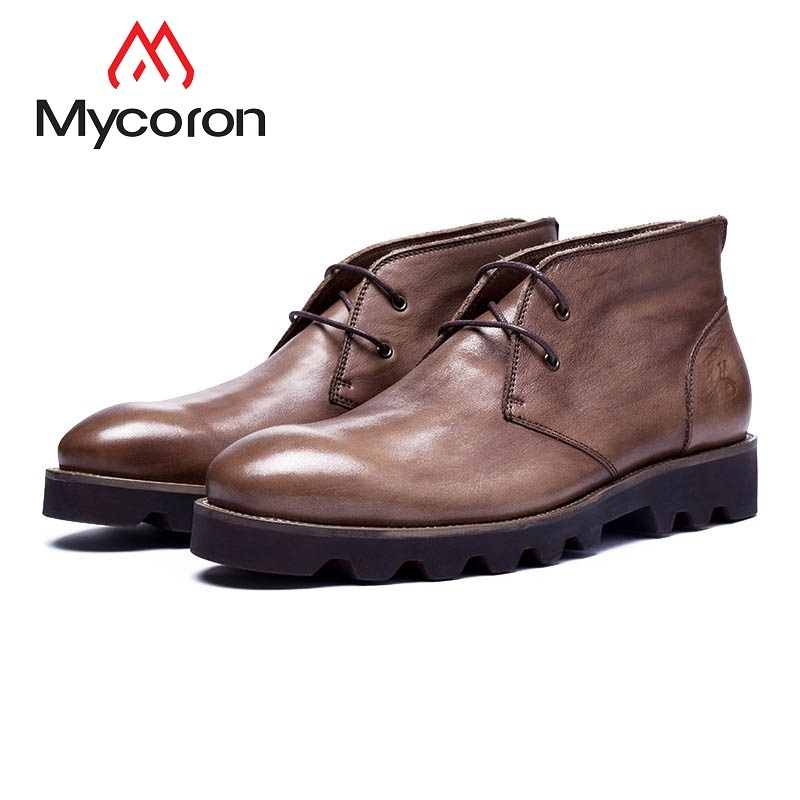 MYCORON Genuine Leather Men Ankle Shoes New Fashion Men Leather Boots Men Boots Outdoor Casual Men Winter Boots Botas Hombre цена