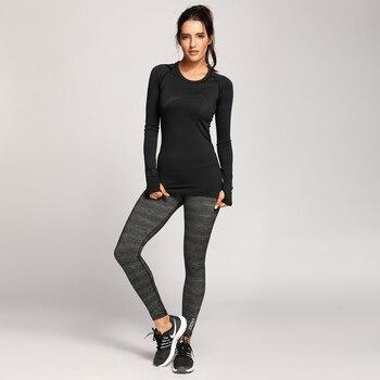 Women's Active Long Sleeve Sports Running Tee Top Seamless Leisure T-shirt Sports & Outdoors
