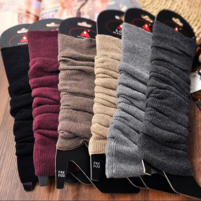 1pair 6 Colors Knitted Women Leg Warmers Long Wool Boot Cuffs Crochet Boot Socks Knitted Gaiters Leg Warmers For Winter BAC318