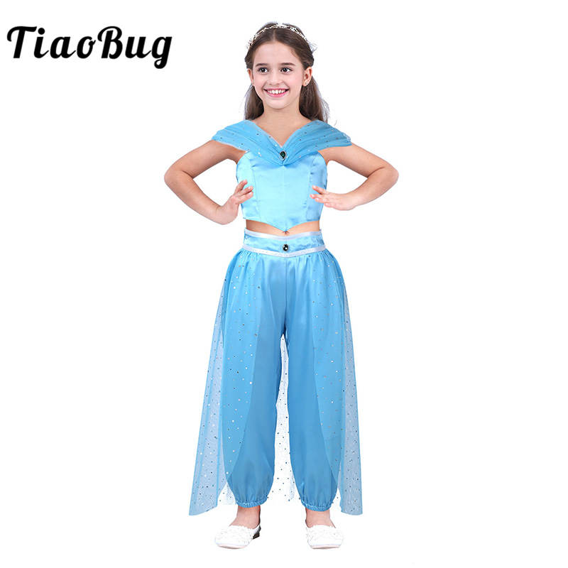 TiaoBug Kids Girls Princess Blue Glittery Sequins Costume Outfit Crop Top with Pants Set Children Halloween Cosplay Party Dress