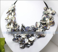 HOT SELL black mother of pearl shell flower white pearl handmade necklace 18 Strand Top quality free shipping