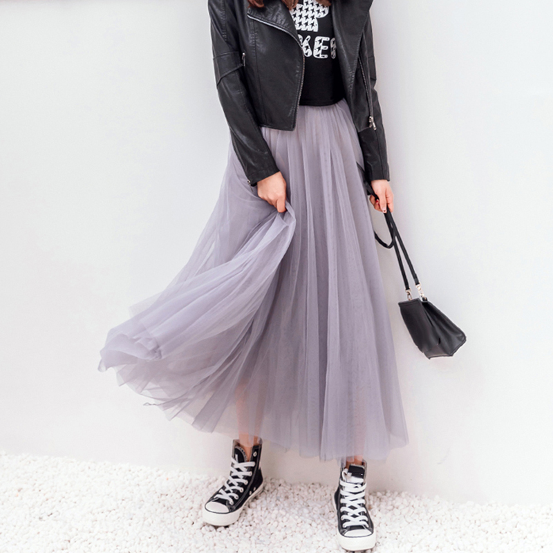 OHRYIYIE 19 Autumn Winter Vintage Skirts Womens Elastic High Waist Tulle Mesh Skirt Long Pleated Tutu Skirt Female Jupe Longue 4