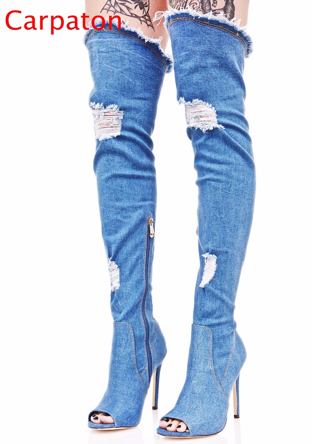 Hot Sale  Women Denim Long Thigh High Heel Boots Sexy Peep Toe  Boots Summer Over Knee Cowboy Cool Holes Sandals Women Shoes fashion blue denim boots women over the knee boots point toe sexy belt decor crystal thigh high boot cowboy high heel long botas