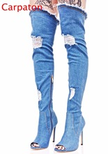 Hot Sale  Women Denim Long Thigh High Heel Boots Sexy Peep Toe  Boots Summer Over Knee Cowboy Cool Holes Sandals Women Shoes