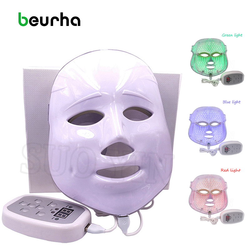 Beurha Korean Technology LED Facial Mask Anti acne Skin Rejuvenation Home Use Beauty Therapy Instrument Face Skin Care Tool anti acne pigment removal photon led light therapy facial beauty salon skin care treatment massager machine