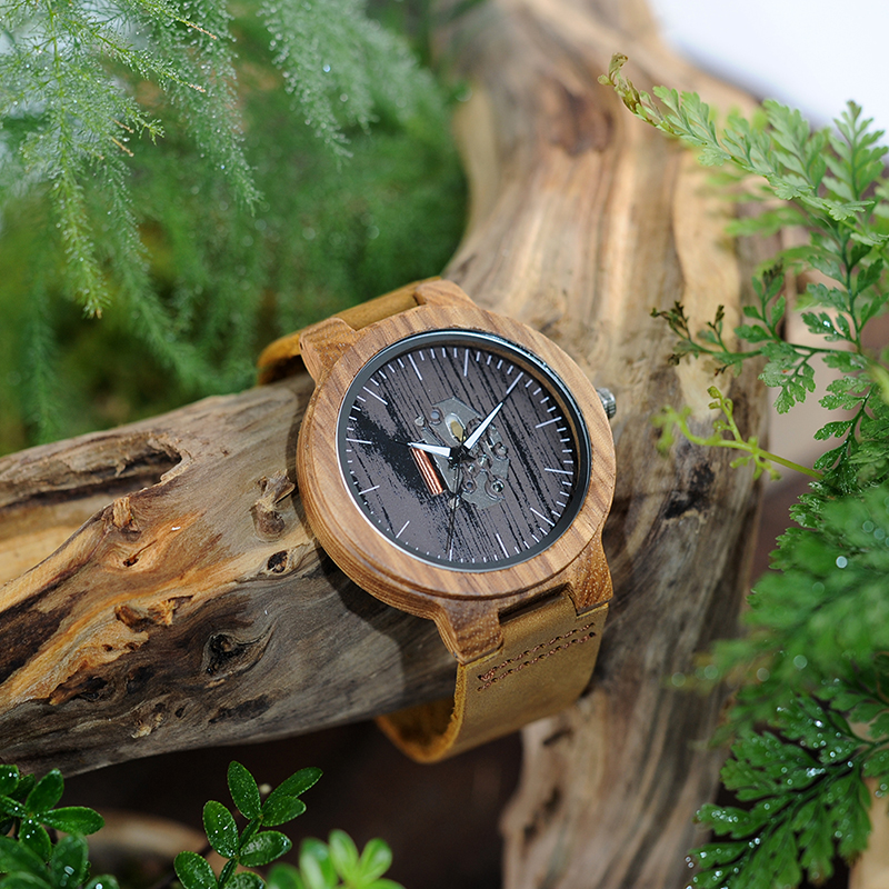 Image 5 - BOBO BIRD Watch Men Real Leather Band Wooden Quartz Wooden Watches Mens Wristwatch Great Mens Gift relogio masculino W H29watch forwatches for menwatch watch -