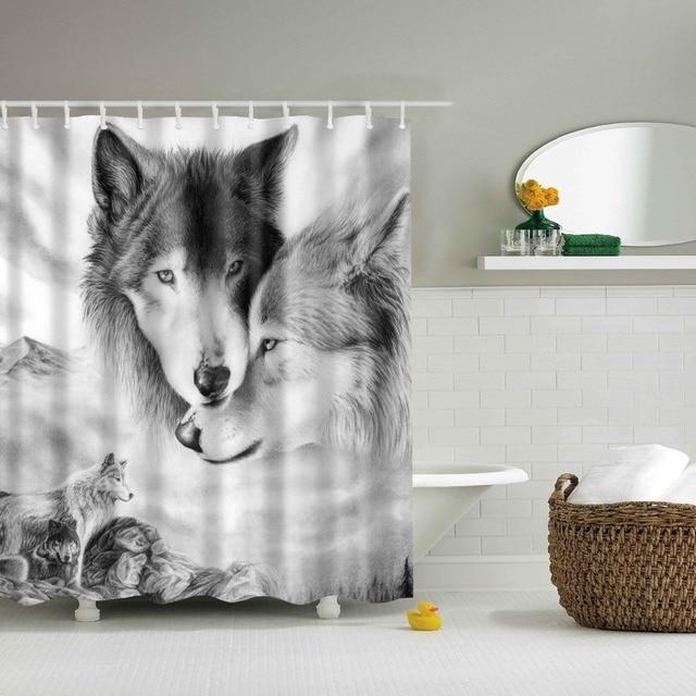 Animali Lupo tenda della doccia Lavabile ecologico tenda della doccia Per Il bag