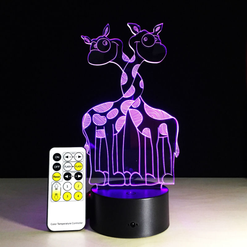 Giraffe Remote Control 3D Light 7 Color Changed Bulb Lamp USB Table Lamp LED Acrylic Night Light For Kids Gift ...