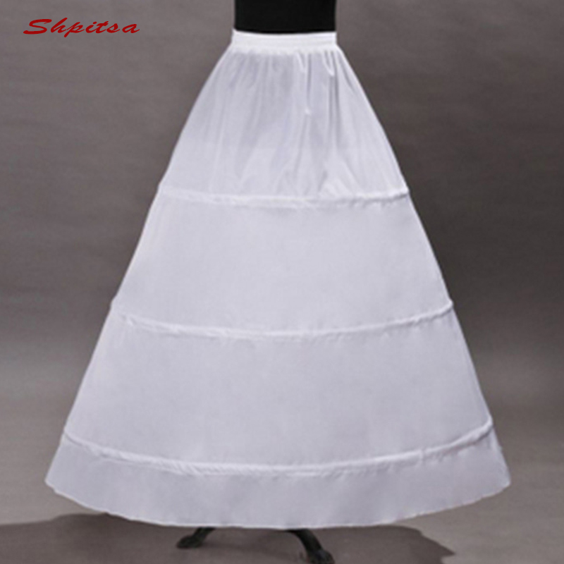 White 3 Hoops Petticoat Underskirt For Wedding Dress Ball Gown Crinoline Woman Hoop Skirt Pettycoat