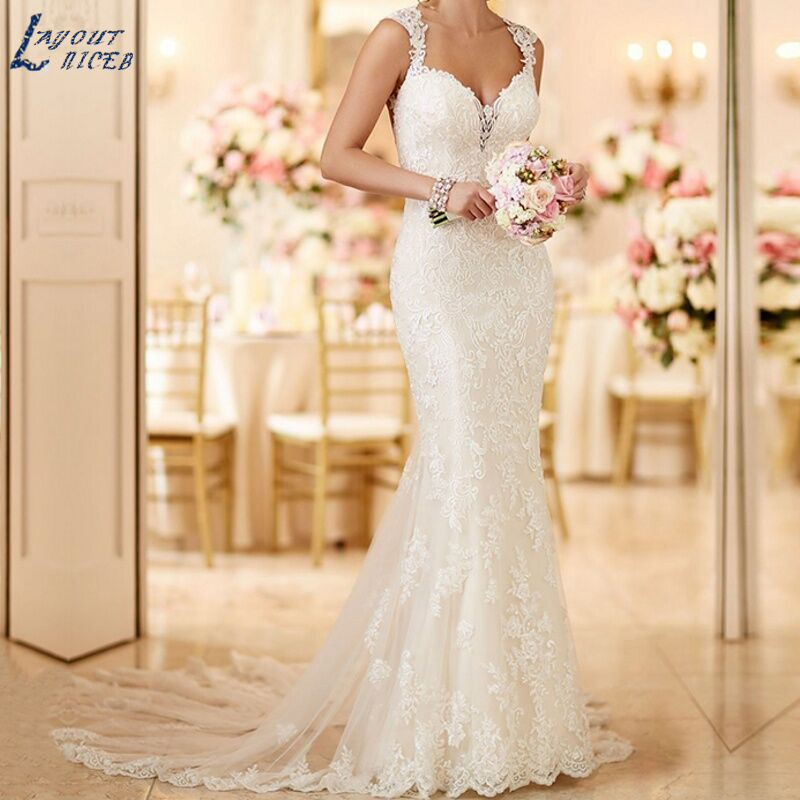 WD112 robe de mariage Long Train Lace Mermaid Wedding Dresses 2018 Custom Made Appliques fishtail Wedding