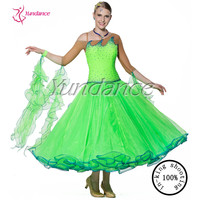 B 13267 Ballroom Dance Dress Ladies Fancy New Green Ballroom Competition Dance Dress 2016