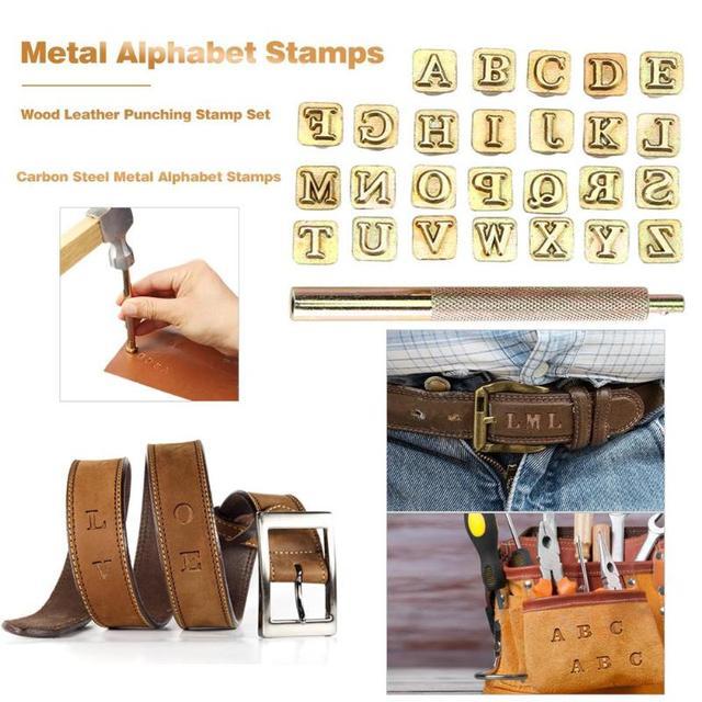 Poinçon dimpression en bois de 26 pièces | Poinçon dimpression, lettres anglaises, ensemble de timbres en métal, outils en cuir, timbre Alphabet en cuir artisanal