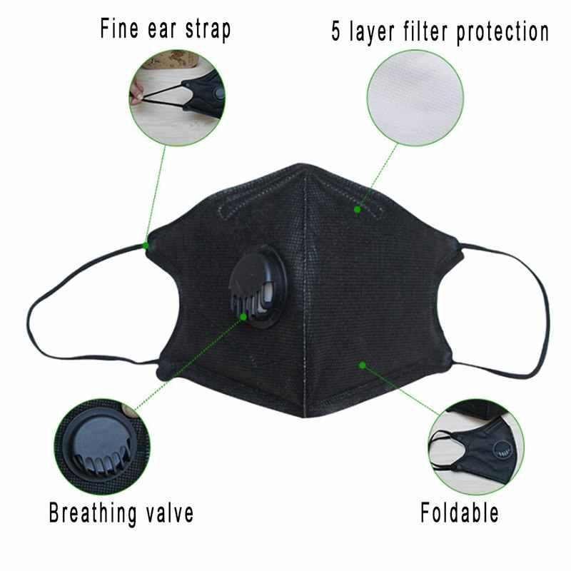 Korea Anti PM2.5 Masker untuk Wajah Anti Debu Mulut Masker Topeng Respirator dengan Karbon Filter Respirator Hitam Masker untuk Musim Dingin berjalan