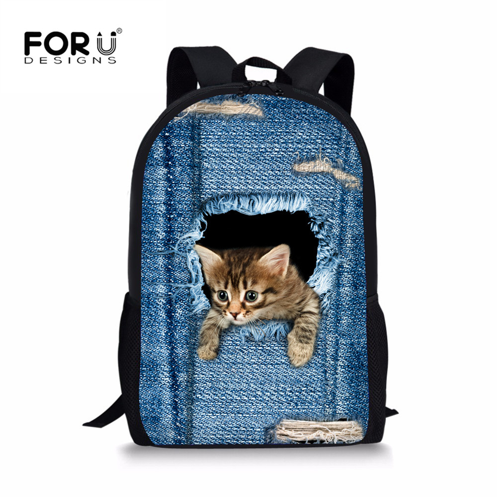 FORUDESIGNS Cat Backpack Cute 3D Animal Denim Backpacks for Children Boys Girls Casual Kids School Bag Mochila Travel Backpack