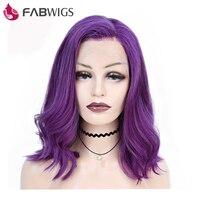 Fabwigs 250% Плотность Боб парик фронта шнурка парики с волосами младенца предварительно сорвал бразильские Remy фиолетовые короткие человечески
