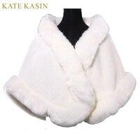 New 2016 Cheap Winter Faux Fur Tippet Ivory Warm Bride Jacket For Wedding Shawls Wraps Women