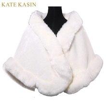 New 2017 Cheap Winter Faux Fur Tippet Ivory Warm Bride Jacket for Wedding Shawls Wraps Women Bridal Coat Free Shipping 4943