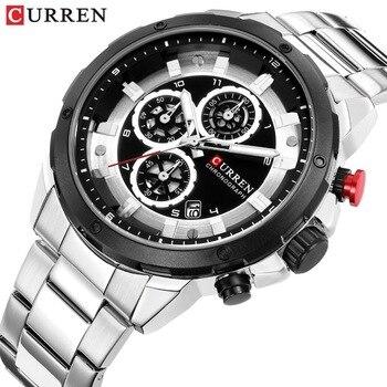 CURREN 8323 Fashion Men Sport Men's Watches Military Quartz Men Watch Stainless Steel Analog Chronograph With Box