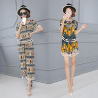 Cotton silk suit female summer national style printing short sleeved T shirt + wide leg pants loose size