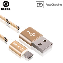 OUHOE Android USB Cable Nylon Braided Fast Charging Data USB Cable 1m/3ft For Android Samsung Xiaomi HTC LG Huawei Free Shipping