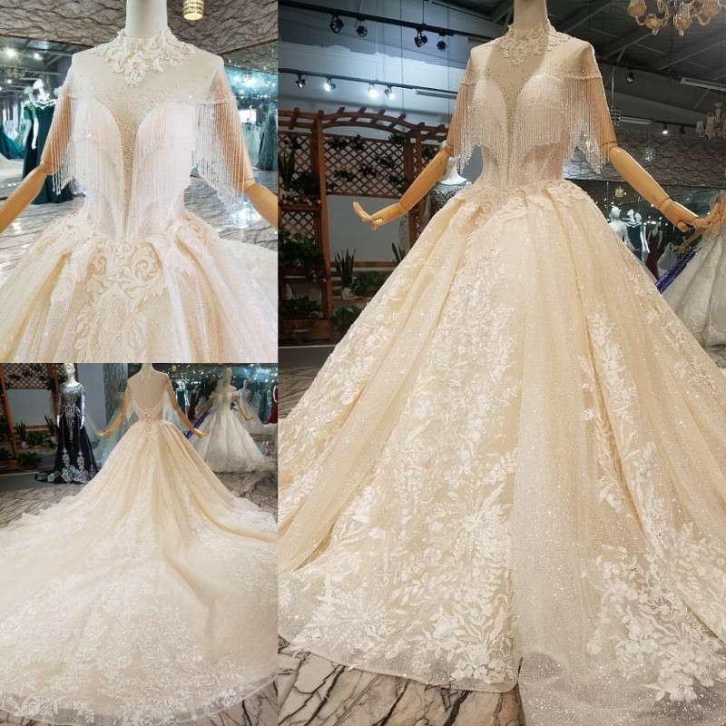 Wedding Dresses 2018 Couture Ball Gowns Elegant Royal: Elegant Sheer High Neck Tassel Lace Ball Gowns Wedding