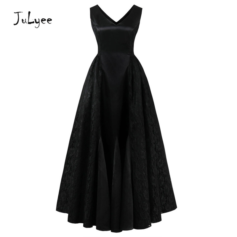Julyee Vintage lace party maxi dress long v neck sleeveless black red retro slim elegant evening