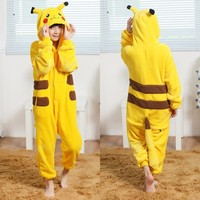 Kawaii Kids Adult Pikachu Cosplay Costumes Children Pokemon Go Onesie All In One Warm Sleepwear Romper