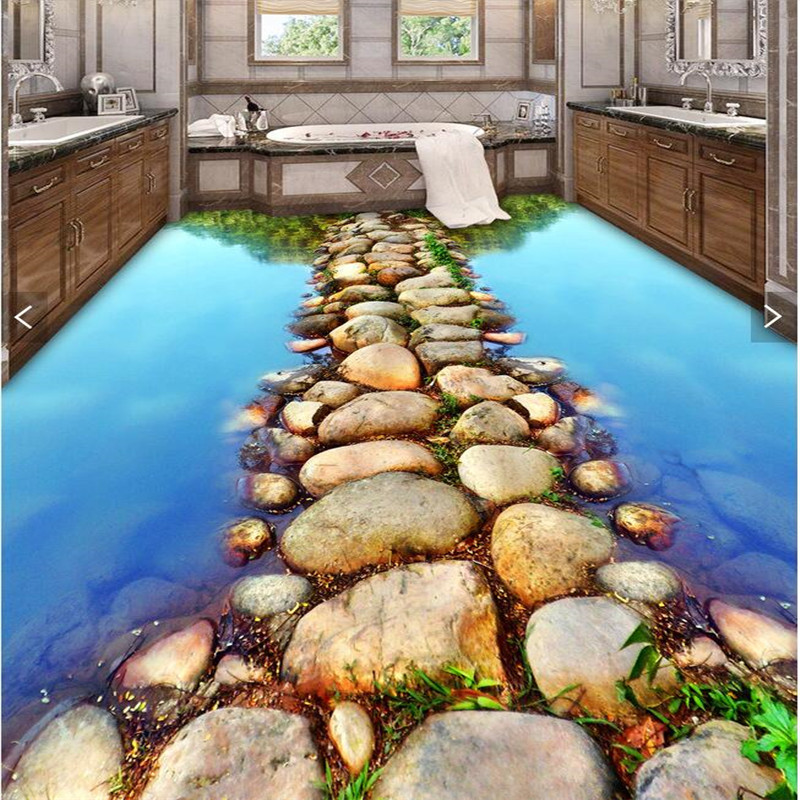 beibehang Floor 3DWallpaper clear river stone Bathroom Floor Mural-3d PVC Wallpaper Self-adhesive Floor painting wall sticker  custom 3d floor painting wallpaper stone steps sunshine pvc self adhesive living room bedroom bathroom floor sticker wall mural