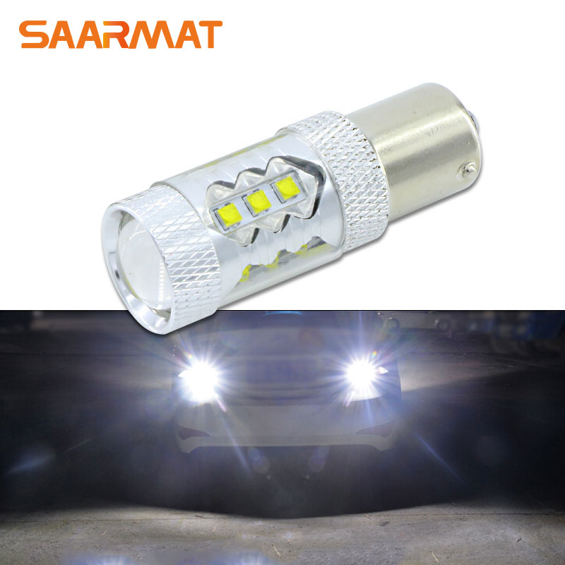 1Pcs 80W w/ CREE Chips 1156 S25 P21W BA15S LED Bulbs Canbus Car Backup Reverse Light Parking Lamp DRL White For VW  AUDI A4 BMM wljh 2x canbus 20w 1156 ba15s p21w led bulb 4014smd car backup reverse light lamp for bmw 228i 320i 328d 328i 335i m3 x1 x4 2015