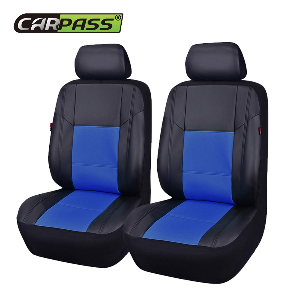 Car-pass New Punching Full PU Leather 2 Front Seat Cover Red Blue Beige Black Patchwork Seat Covers Fit For Toyota Audi Mazda