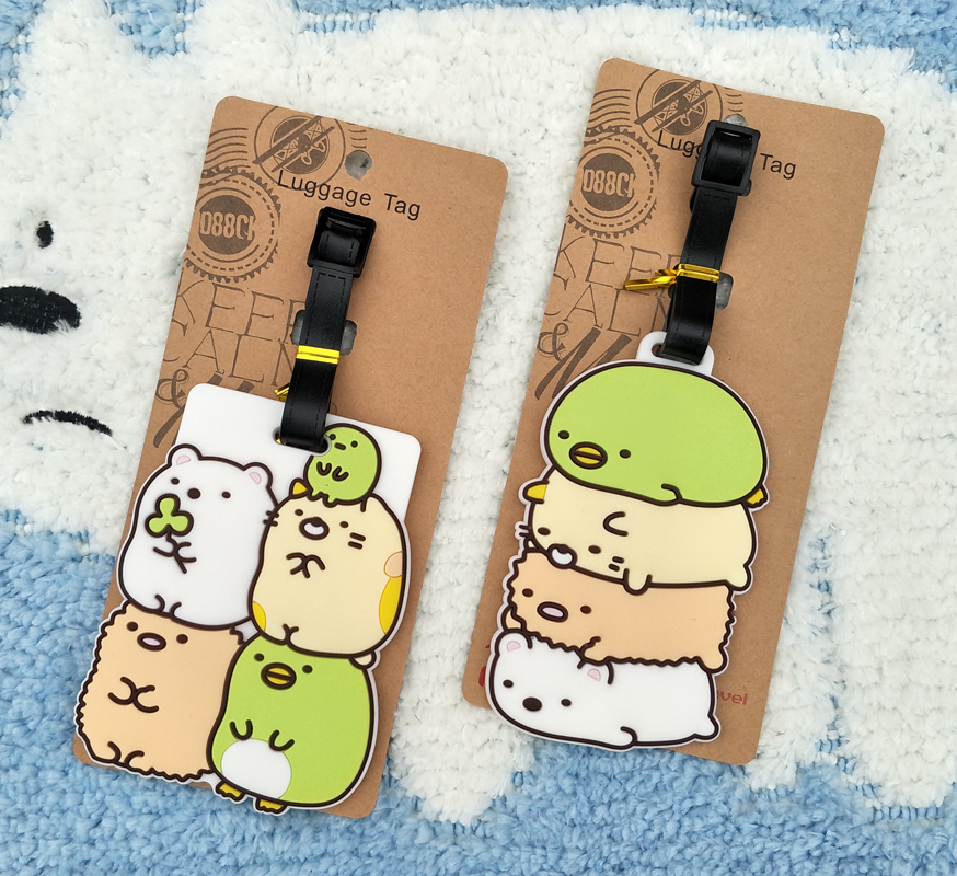 IVYYE Sumikko Gurashi Anime Travel Accessories Luggage Tag Suitcase ID Address Portable Tags Holder Baggage Label New Gifts