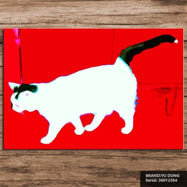 framed modern no abstract canvas art decor oil painting cat pop art
