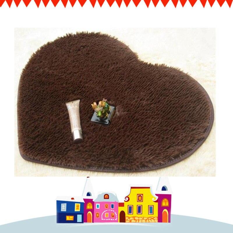 Free Shipping Fashion Coffee Heart-shaped Carpet Bathroom Floor Mat Doormat Absorbent Non-Slip Prayer Mats 40x5050x6070x80cm