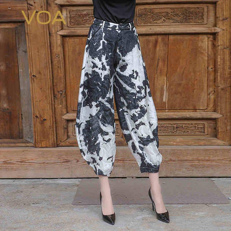 VOA Harajuku Camouflage Streetwear Ženy Silk Hip Kalhoty White Black Joggers Female Casual Plus Velikost Print Baggy Nohavice K6005