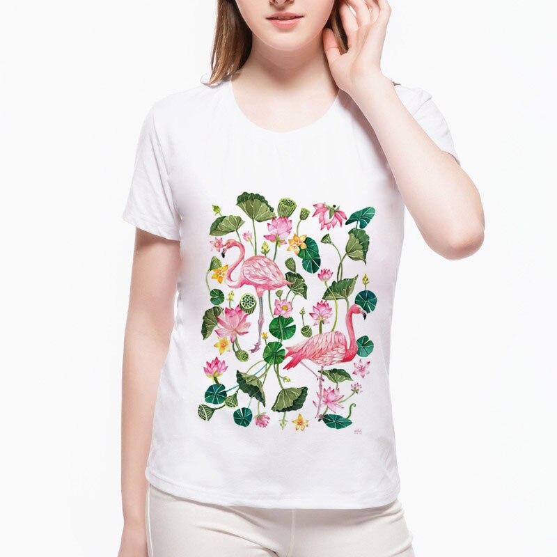 2020 Značka jaro a léto Harajuku Flamingo Lotus T tričko Legrační tisk Krátký rukáv pro volný čas O Neck Shirts Tee wah1 (37) #