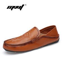 Купить с кэшбэком Genuine Leather Men Shoes Loafers Crocodile Pattern Men Casual Shoes High Quality Slip On Moccasins Driving Shoes