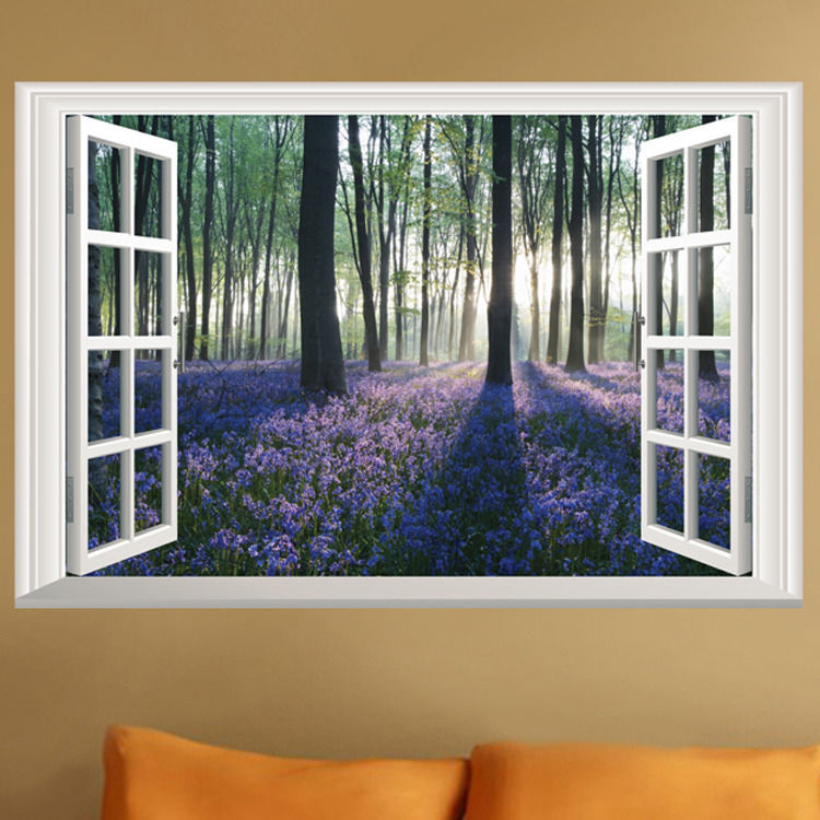 Lavender flowers 3d window wall sticker tree wall sticker for Door mural decals