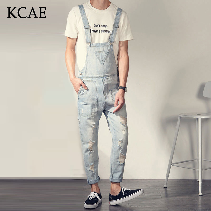 2016 Spring New Arrival Stretched Mens Slim Harlan  Denim Overalls Distressed Jeans Ripped Jumpsuit Male Suspenders Bibs 2017 spring autumn fashion mens skinny jean overalls casual bib jeans for men male ripped denim jumpsuit suspenders bibs 050701