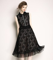 Hign End Women Vintage Cocktail Lace Dress Summer Black Lace Women's Wear 2019 lapel Sleeveless Vest Tank Dress