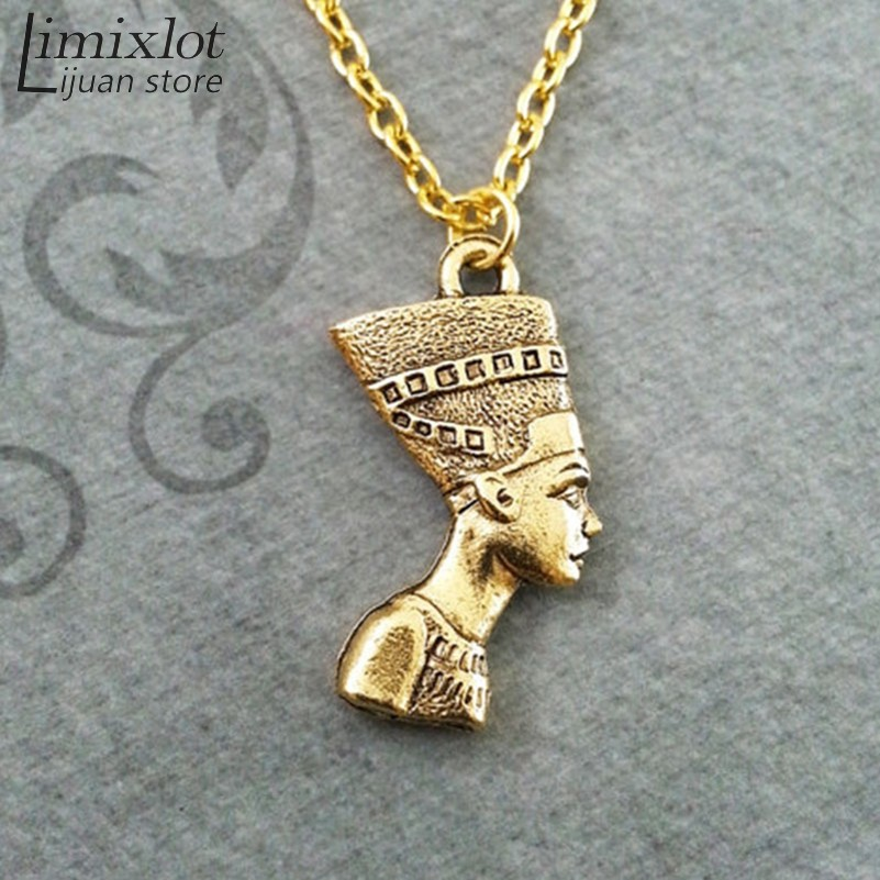 imixlot Egyptian Egypt Queen Ancient Silver Goddess Head Charms Pendant Necklace Fashion DIY Jewelry Wholesale