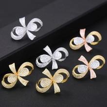 Siscathy Famous Brand Luxury Popular Bowknot Flower Stud Earrings For Women Wedding Full Mirco CZ Cubic Zircon Earrings Jewelry недорого