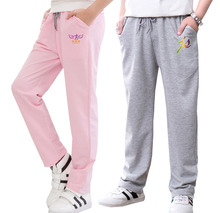 hot deal buy kids 2017 new summer thin models boys and girls loose casual pants 100% cotton students trousers 6 8 10 12 14 16 18 years old