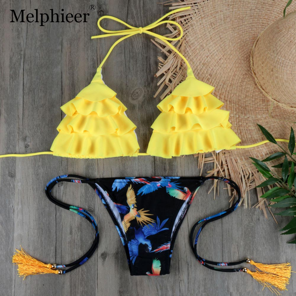 Tassel Micro <font><b>Bikini</b></font> <font><b>2018</b></font> Biquini Sexy Ruffle Swimwear Women Halter <font><b>Push</b></font> <font><b>Up</b></font> Brazilian <font><b>Bikini</b></font> Yellow Swimsuit Bandage Bathing Suit image