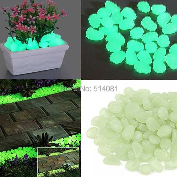 50pcs green glow in the dark fluorescent pebbles stones. Black Bedroom Furniture Sets. Home Design Ideas