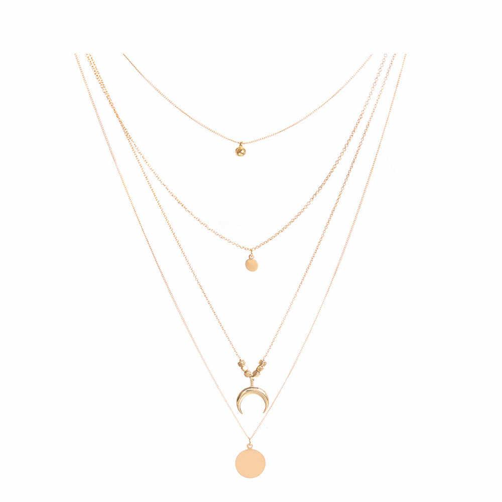 Tốt nhất bán vòng cổ Phụ Nữ Thời Trang Moon Chữ Thập Mặt Dây Chuyền Vòng Cổ Chuỗi Đồ Trang Sức Thanh Lịch collares